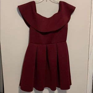 Maroon dress, brand new, off the shoulder